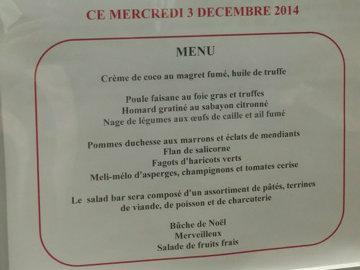 menu dejeuner Noel parlementaires europeens
