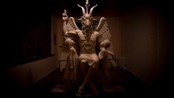 temple satanique statue Baphomet cérémonie Détroit