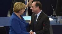 Devant le Parlement européen, Angela Merkel et François Hollande plaident pour plus d'Europe