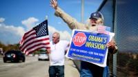 Des manifestants américains anti-immigration, s'opposant à la politique d'Obama.