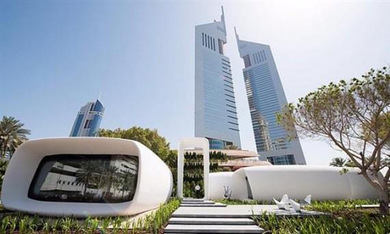 premier immeuble bureaux monde construit imprimante 3D Dubaï