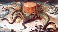 Dessin satirique représentant le monopole dans les années 1900 de la société Standard Oil fondée par John D. Rockefeller