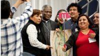 Le cardinal Peter Turkson, préfet du nouveau dicastère pour le développement humain intégral, à la Rencontre mondiale des mouvements populaires.