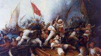 Stephen Decatur embarquant sur une  canonnière tripolitaine lors du bombardement de Tripoli, le 3 août 1804 (Dennis Malone Carter, XIXe siècle)