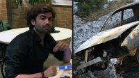 Ramin Sherzaj et la voiture brûlée.