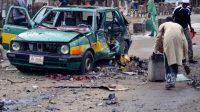Une carcasse de voiture à Maiduguri (Etat de Borno) après une attaque suicide attribuée à Boko Haram, le 31 juillet 2015.