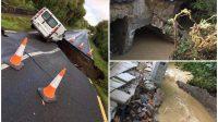 Des photos choquantes montrent le moment de l'horreur... le van est presque avalé par un trou géant à Donegal pendant les inondations.