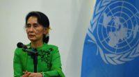 Aung San Suu Kyi lors d'une conférence de presse de l'ONU, à Naypyidaw, au Myanmar, le 30 août 2016.