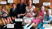Photo de famille avec les prénoms des enfants et de sa femme.