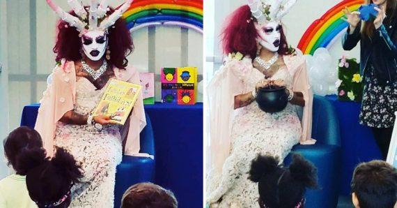 démon drag queen enfants bibliothèque