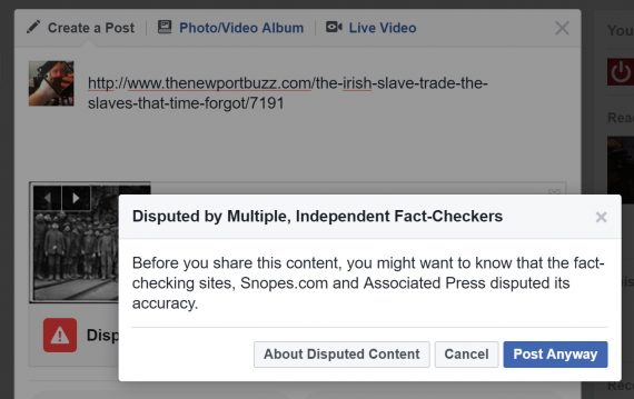 Facebook fake news triangle