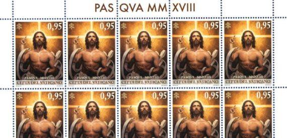 Jésus musclé timbre Pâques Vatican