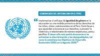 L'ONU proteste contre la suppression de l'idéologie du genre dans les programmes scolaires péruviens