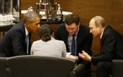 Gag: David Cameron et Barack Obama essaient de persuader Poutine de les aider à vaincre l'Etat islamique