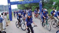 La photo :L'« European Climate Diplomacy Day » aligne les cyclistes à… Islamabad