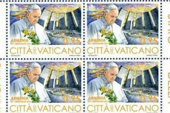 timbre Vatican effigie pape François mémorial génocide Arméniens