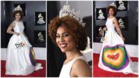 La photo: Aux derniers Grammy Awards, l'actrice Joy Villa portait une robe pro-vie