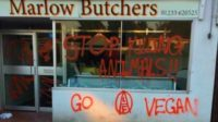 La boucherie Marlow, dans le Kent, menacée d'incendie par les extrémistes végans de l'Animal Liberation Front (ALF)